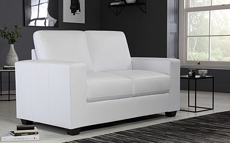Mission White Leather Sofa 2 Seater
