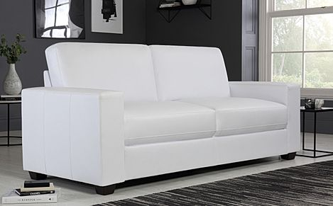 Mission White Leather 3 Seater Sofa