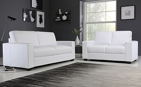 Mission White Leather Sofa 3+2 Seater