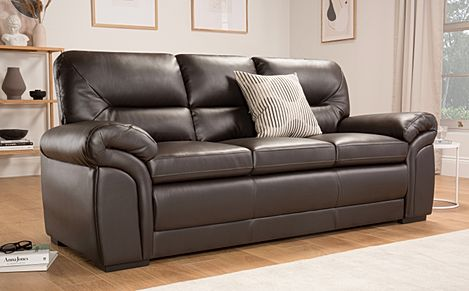 Bromley Brown Leather 3 Seater Sofa