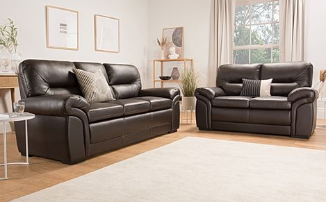 Bromley Brown Leather Sofa 3+2 Seater