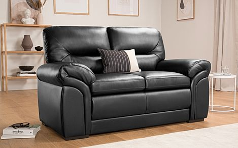Bromley Black Leather Sofa 2 Seater