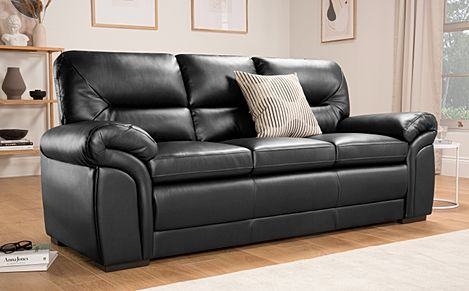 Bromley Black Leather 3 Seater Sofa