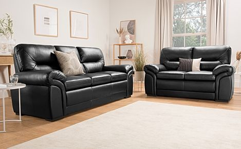 Bromley Black Leather Sofa 3+2 Seater