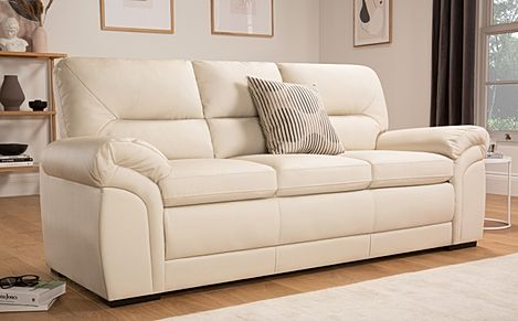 Bromley Ivory Leather Sofa 3 Seater