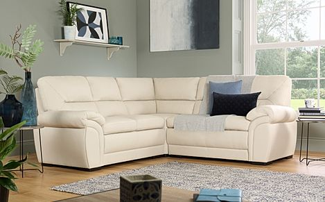 Bromley Ivory Leather Corner Sofa
