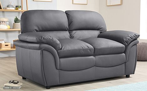 Rochester Grey Leather Sofa 2 Seater