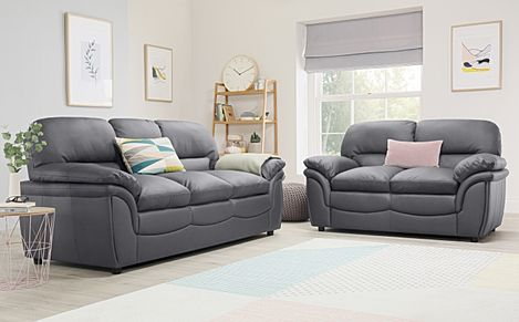 Rochester Grey Leather Sofa 3+2 Seater