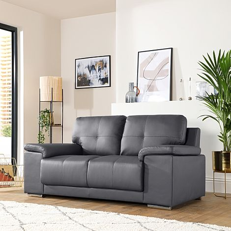 Kansas Grey Leather Sofa 2 Seater