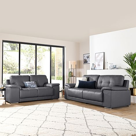 Kansas Grey Leather 3+2 Seater Sofa Set