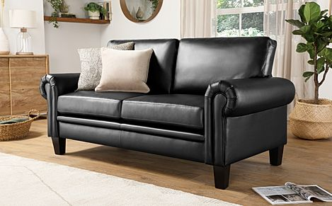 Oakley Black Leather 2 Seater Sofa