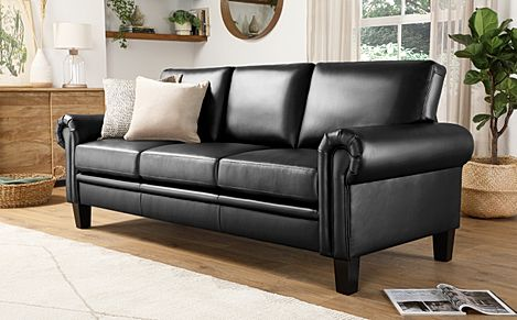 Oakley Black Leather 3 Seater Sofa