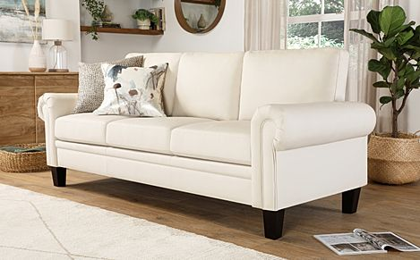 Oakley Ivory Leather 3 Seater Sofa