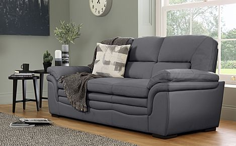 Sutton Grey Leather Sofa 3 Seater