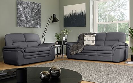 Sutton Grey Leather Sofa 3+2 Seater
