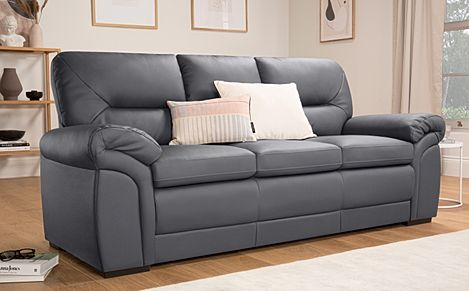 Bromley Grey Leather 3 Seater Sofa