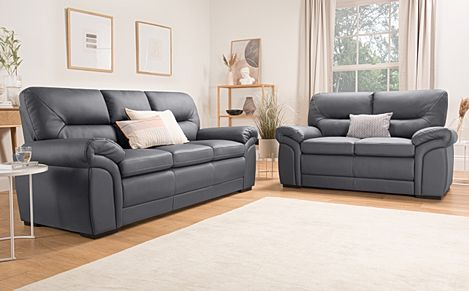 Bromley Grey Leather Sofa 3+2 Seater