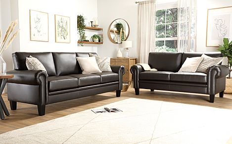 Oakley Brown Leather 3+2 Seater Sofa Set