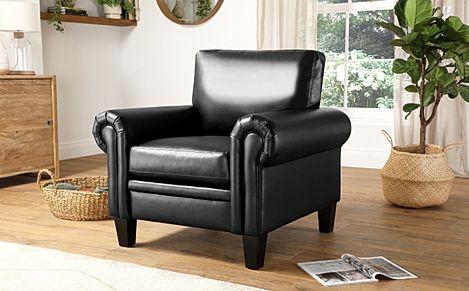 Oakley Black Leather Armchair