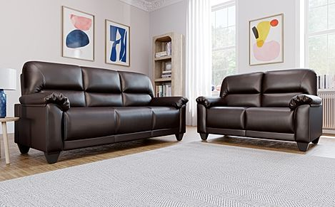 Kenton Small Brown Leather 3+2 Seater Sofa Set