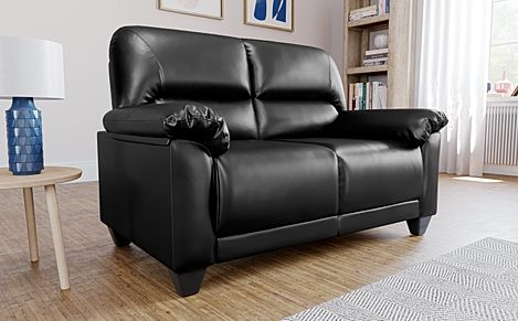 Kenton Small Black Leather Sofa 2 Seater