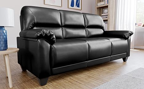 Kenton Small Black Leather Sofa 3 Seater