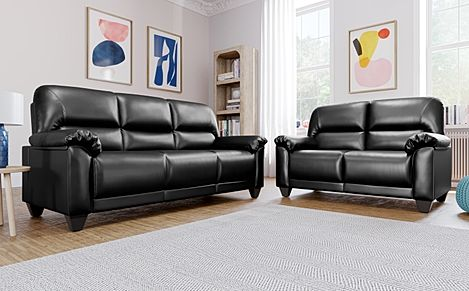 Exceptional Kenton Small Black Leather Sofa 3+2 Seater