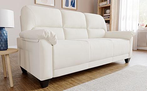 Kenton Small Ivory Leather Sofa 3 Seater