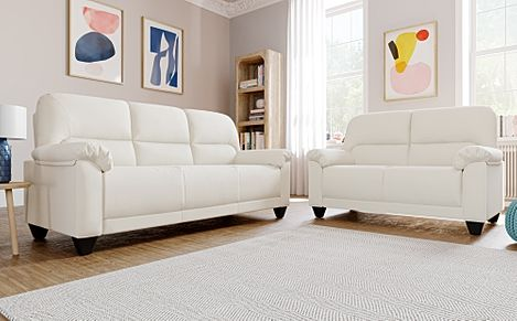 Kenton Small Ivory Leather Sofa 3+2 Seater