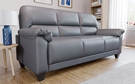 Kenton Small Grey Leather 3 Seater Sofa