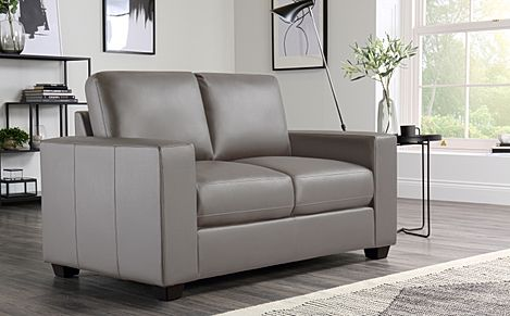 Mission Taupe Leather Sofa 2 Seater