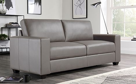 Mission Taupe Leather Sofa 3 Seater