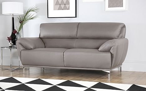 Enzo Taupe Leather Sofa 2 Seater