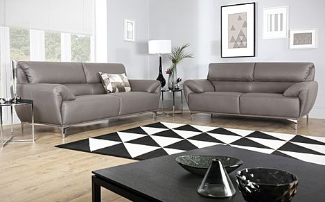 Enzo Taupe Leather Sofa 3+2 Seater