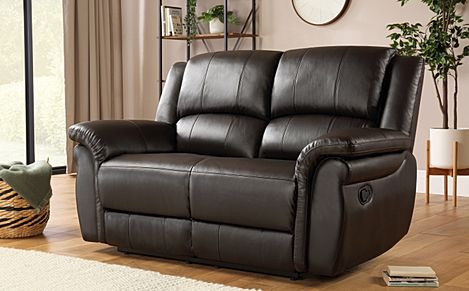 Lombard Brown Leather Recliner Sofa 2 Seater