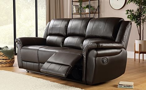 Lombard Brown Leather 3 Seater Recliner Sofa