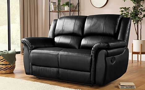 Lombard Black Leather Recliner Sofa 2 Seater