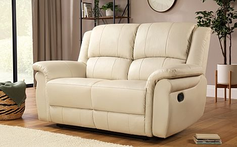 Lombard Ivory Leather Recliner Sofa 2 Seater