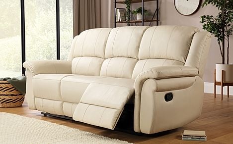 Lombard Ivory Leather Recliner Sofa 3 Seater