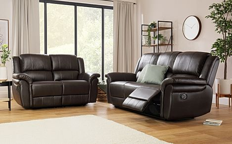 Lombard Brown Leather 3+2 Seater Recliner Sofa Set