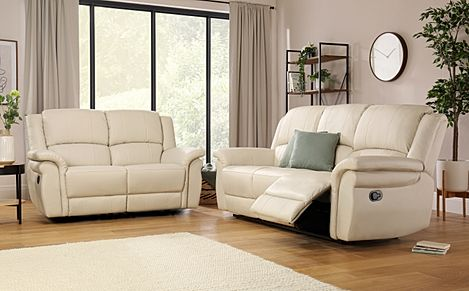 Lombard Ivory Leather 3+2 Seater Recliner Sofa Set