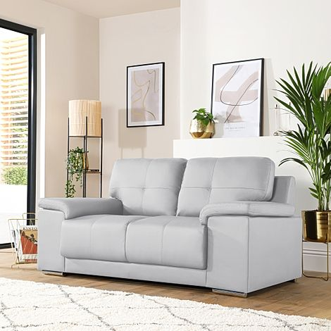 Kansas Light Grey Leather 2 Seater Sofa