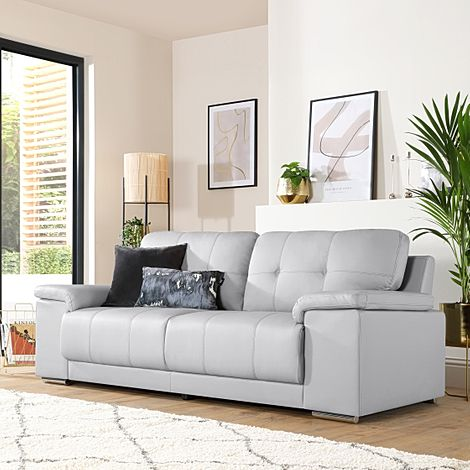 Kansas Light Grey Leather 3 Seater Sofa