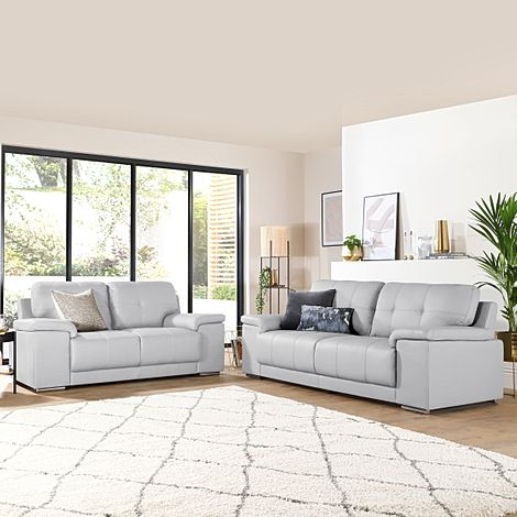 Kansas Light Grey Leather 3+2 Seater Sofa Set
