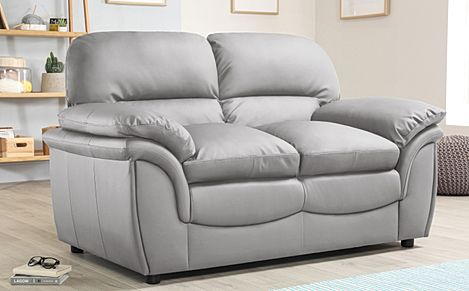Rochester Light Grey Leather 2 Seater Sofa