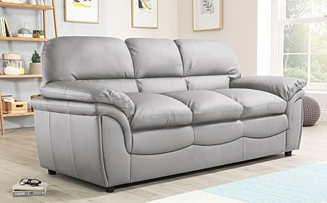 Rochester Light Grey Leather 3 Seater Sofa