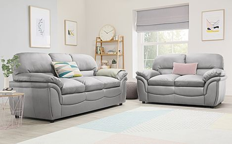 Rochester Light Grey Leather 3+2 Seater Sofa Set