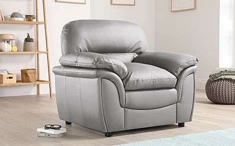 Rochester Light Grey Leather Armchair