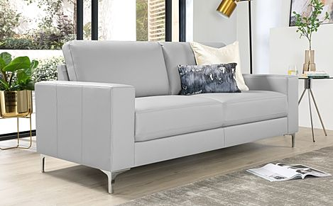 Baltimore Light Grey Leather Sofa 3 Seater