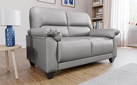 Kenton Small Light Grey Leather 2 Seater Sofa